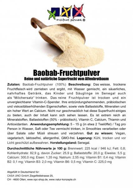 BAOBAB reines Fruchtpulver mit Vit.C, B, Mineralien