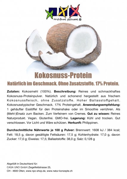 KOKOSNUSS-Protein / Smoothie, Shake, zum Kochen, Backen
