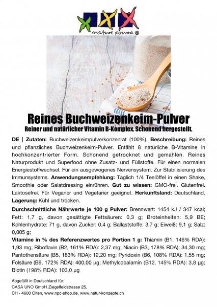Buchweizenkeimlings-Pulver, 100g, B-Vitamine inkl. B12